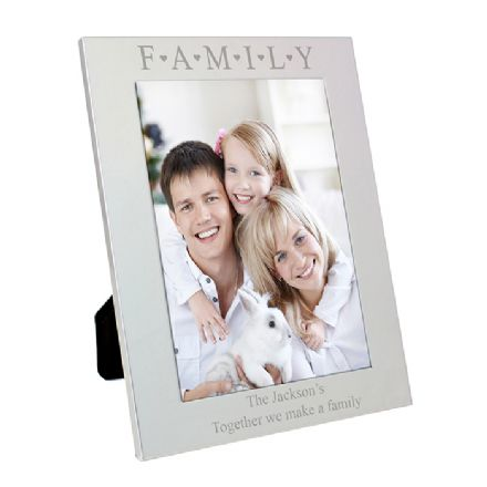 Personalised Silver 5x7 Family & Hearts Frame